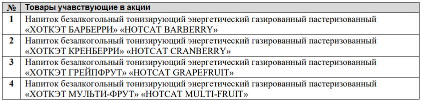 Наименование акционных напитков от HOTCAT
